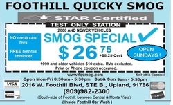 Foothill Quicky Smog Coupon