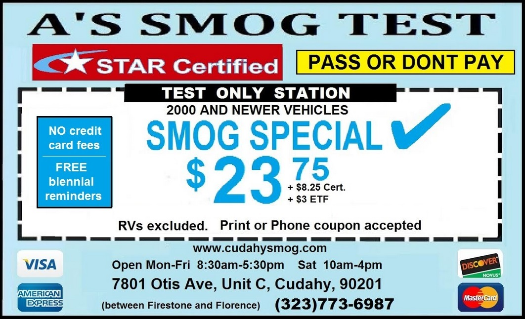 A's Smog Test Coupon