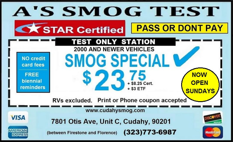 A's Smog Check Coupon; Pass OR No Pay