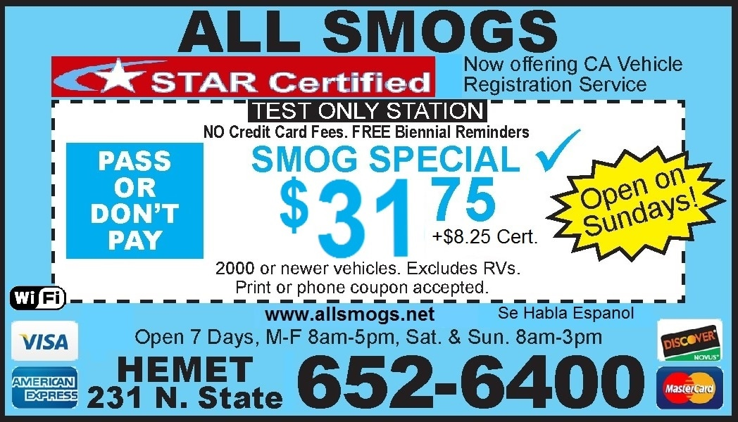 All Smogs Smog Check Coupon; Pass OR No Pay